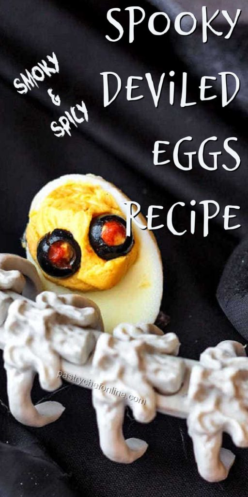"""deviled egg pin text reads """"spicy & smoky spooky deviled eggs recipe"""""""