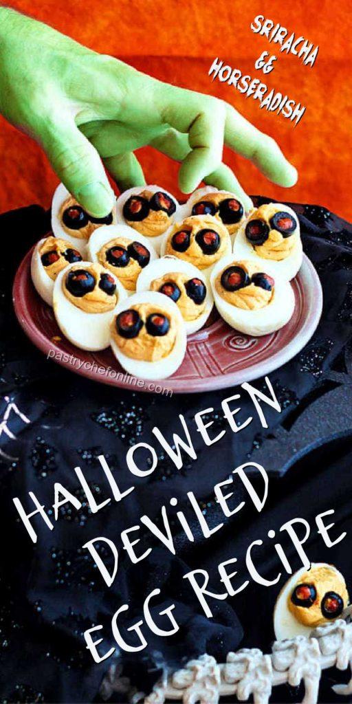 "deviled eggs pin text reads ""sriracha & horseradish halloween deviled egg recipe"""