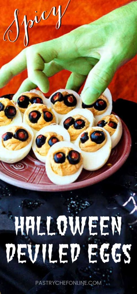 """deviled egg pin text reads """"spooky halloween deviled eggs"""""""