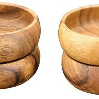 Pacific Merchants Acaciaware Round Calabash Bowl, 4-Inch by 1.5-Inch, Set of 4