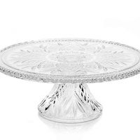 """Godinger DUBLIN CAKE PLATE,Clear,12"""" cake plate with stand"""