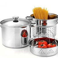 Cook N Home 02401 Stainless Steel 4-Piece 8 Quart Pasta Cooker Steamer Multipots,
