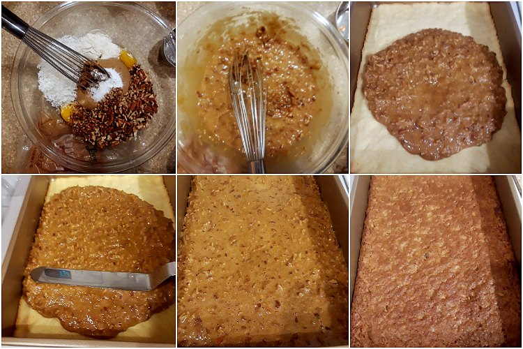 Pecan angel slice filling process shot collage: mixing all the ingredients, pouring onto the baked crust, spreading it out, and baking the filling.