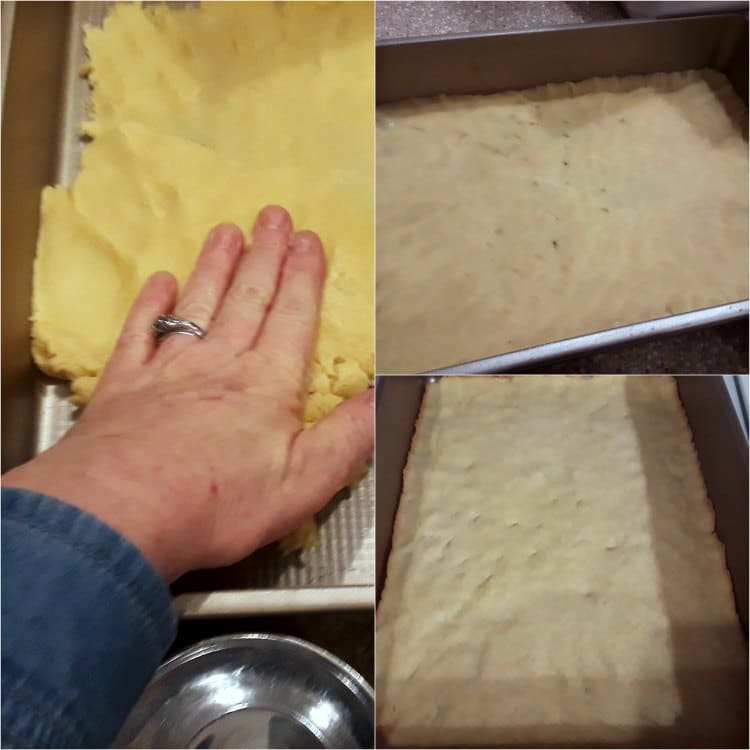Collage of process shots of angel slice dough: pressing dough into the pan and baking.
