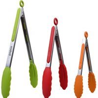 POPCO The Original Food Tongs, Set of 3-7,9,12 Inch, Heavy Duty, Stainless Steel BBQ/Kitchen Tongs with Silicone Tips (Muti Color)
