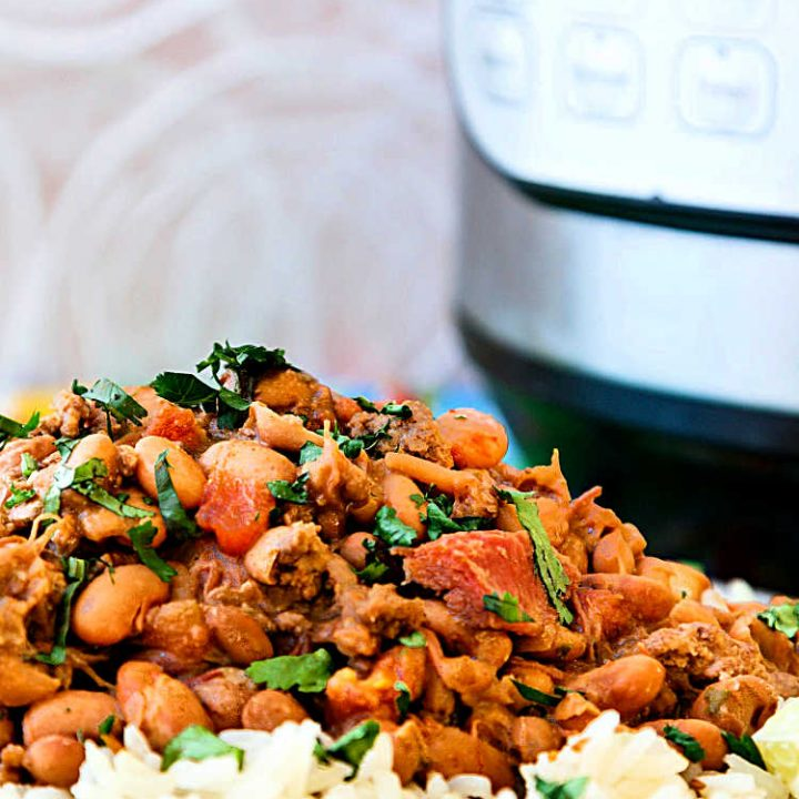 instant pot charro beans over rice with an instant pot in the background