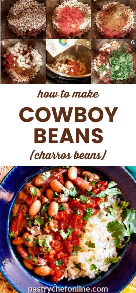 """bowl of cowboy beans over rice and process shots text reads """"how to make cowboy beans (charros beans)"""""""