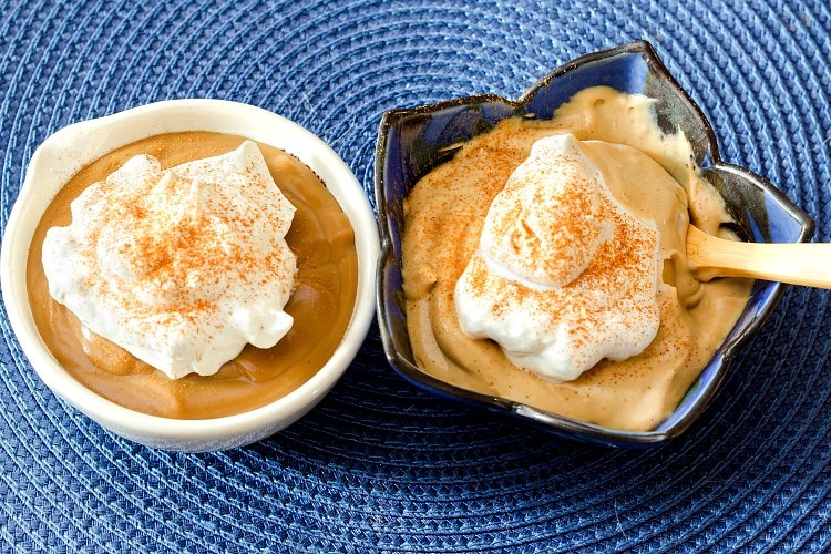 Two individual servings of butterscotch pudding. The left shows pudding poured straight into the bowl. The right side was cooled, whisked, and folded in with whipped cream giving a more mousse like consistency.