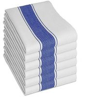 Vintage Tea Towels by SMARTZ; 100 percent Cotton with Hanging Loop; 6 Pack White with Blue Stripes plus Silicone Mat; Large 70x50 centimeter Long Lasting and Absorbent; Dry Kitchen Dishes, Pots and Glasses Fast Leaving Low Lint