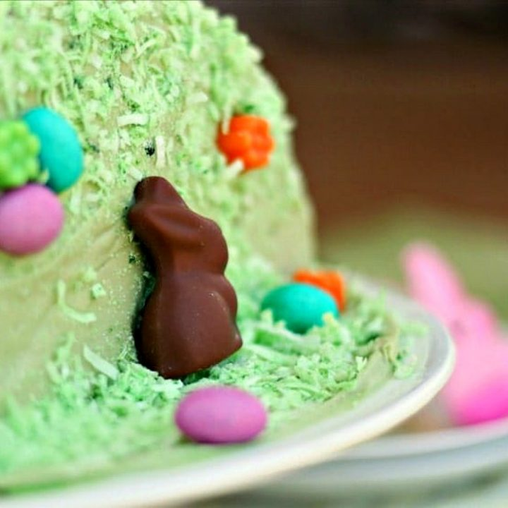 close up of side of green Easter cake decorated with a chocolate bunny