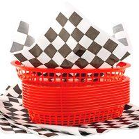 Retro Style Red Fast Food Basket 6 Pk and Black Checkered Deli Liner 60 Pk Combo. Classic 11 In Deli Baskets Are Microwavable and Dishwasher Safe. Disposable Deli Paper Squares for Easy Cleanup