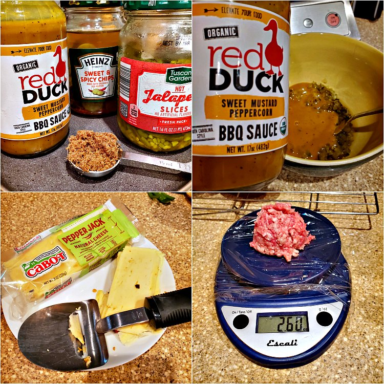 4 images showing the ingredients for bbq bacon smashed burgers.