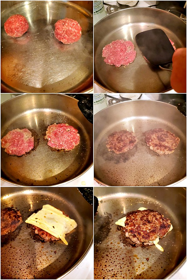 collage of images showing how to make a bbq bacon double cheeseburger