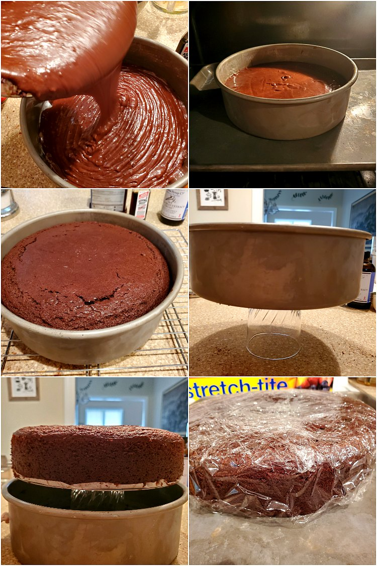 6 images showing pouring cake batter into the pan, baking it, removing it from the pan and wrapping it in plastic wrap to cool.