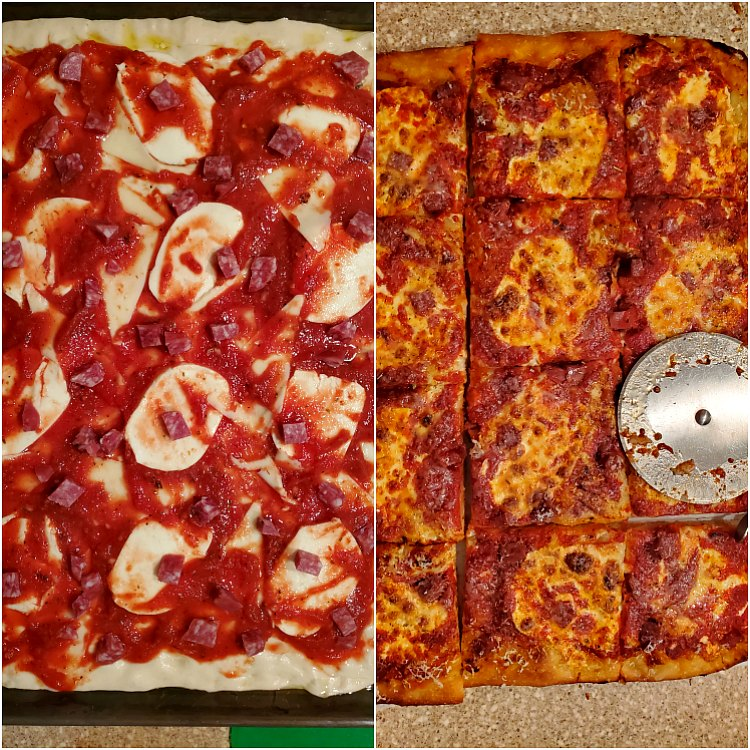 2 images showing Grandma pizza dough topped with sauce and cheese. One before baking, One after being baked and cut up.