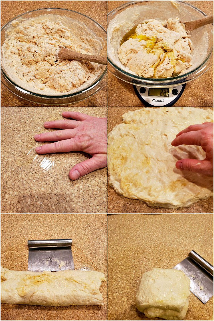 Collage of 6 images showing how to make grandma pizza dough.