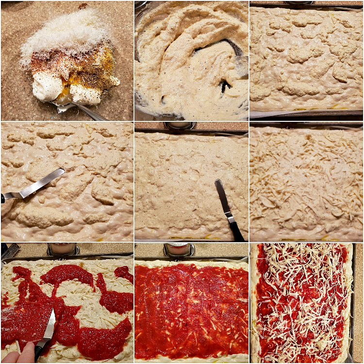 Collage of 9 images showing step by step how to make ricotta mixture and layer on the ingredients for lasagna pizza.
