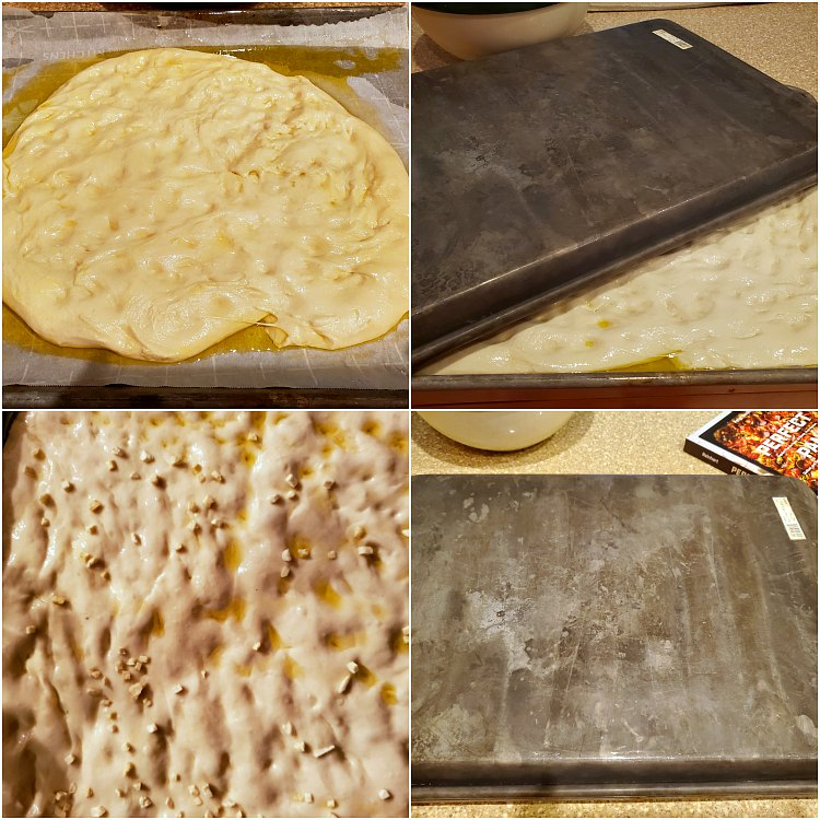 Collage of 4 images showing how to stretch dough into the pan and let it rest.
