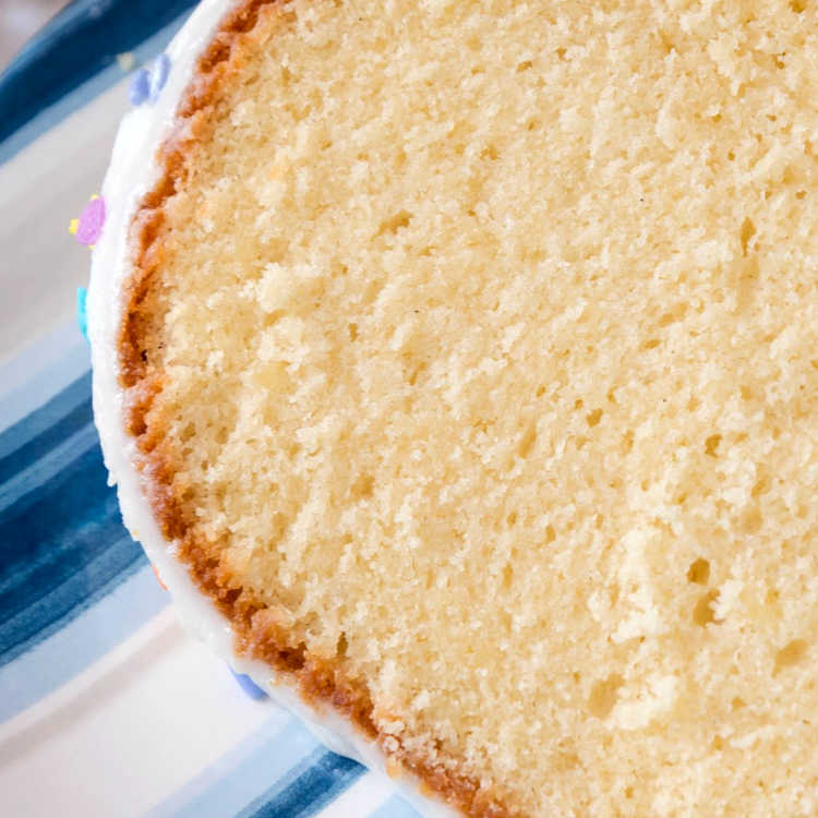 Closeup of a slice of pound cake so you can see the fine crumb structure.