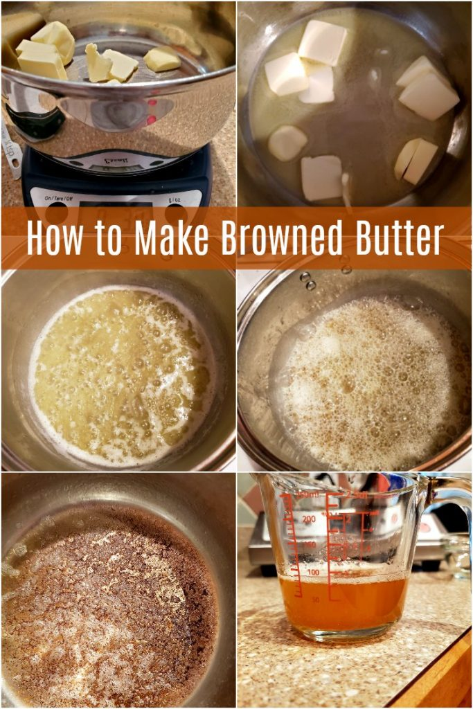 Collage of 6 images showing how to make brown butter.