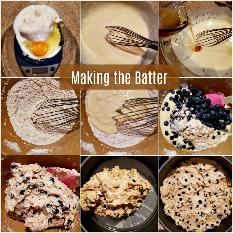 A collage of 9 images showing how to mix the batter for the brown butter blueberry buckle.