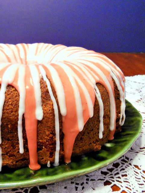 side view of strawberry moscato cake with 2 glazes