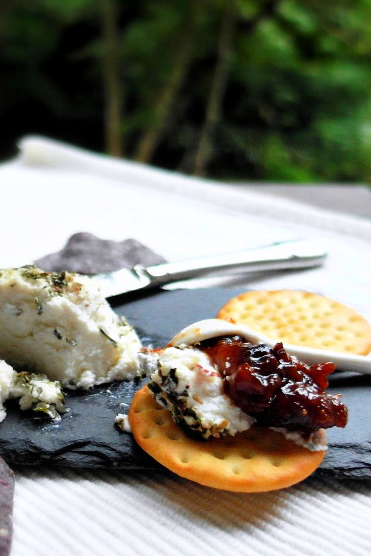 Savory fig jam and crackers with goat cheese.