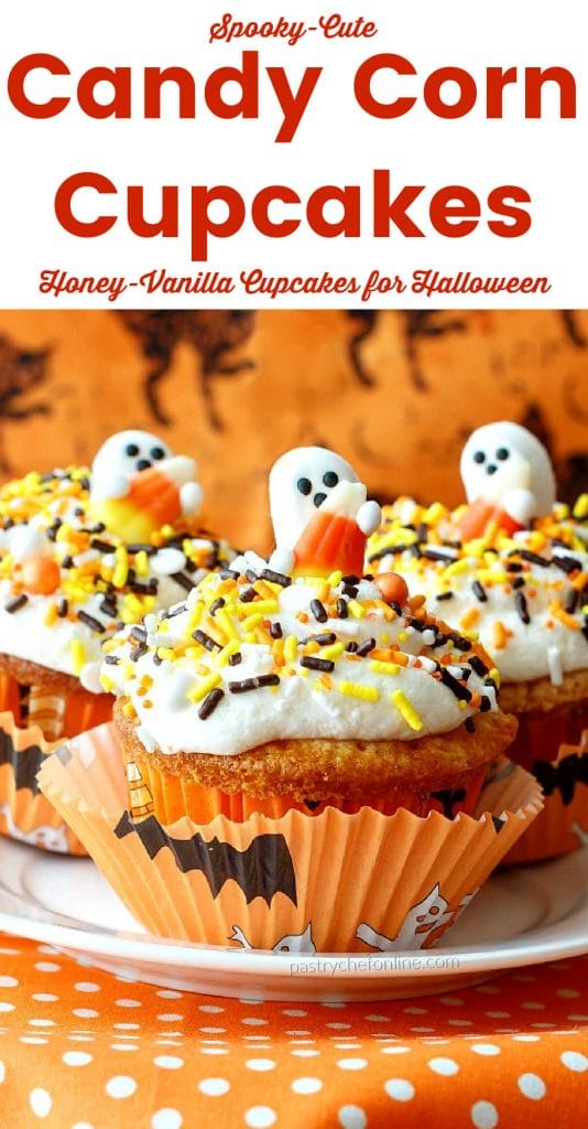 """cupcake with white frosting and ghost on top text reads """"spoody cute candy corn cupcakes honey vanilla cupcakes for Halloween"""""""