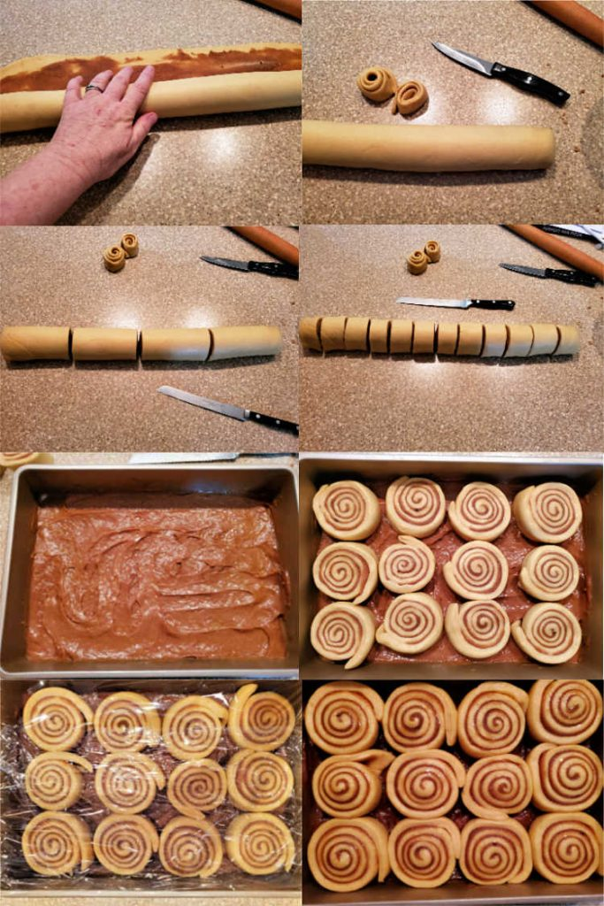 Collage of photos of forming and cutting up the rolls, then panning them up.