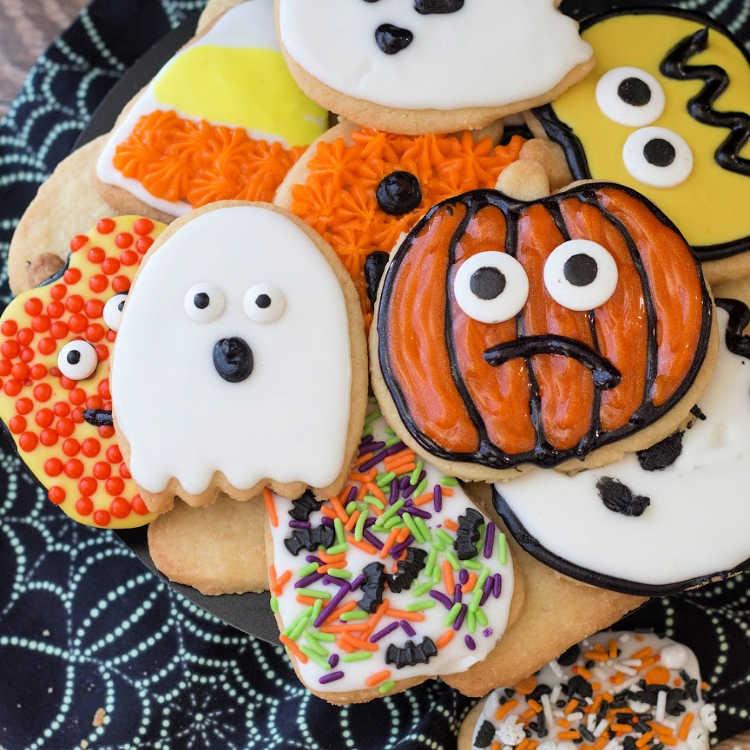 Decorated Halloween shortbread cookies.