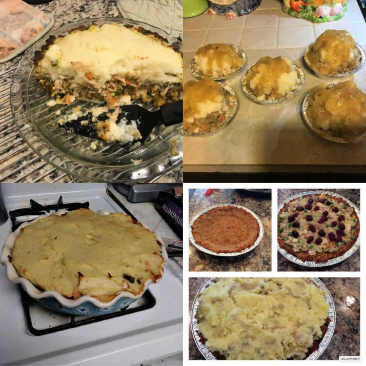 A collage of 4 thanksgiving shepherds pies made by readers.