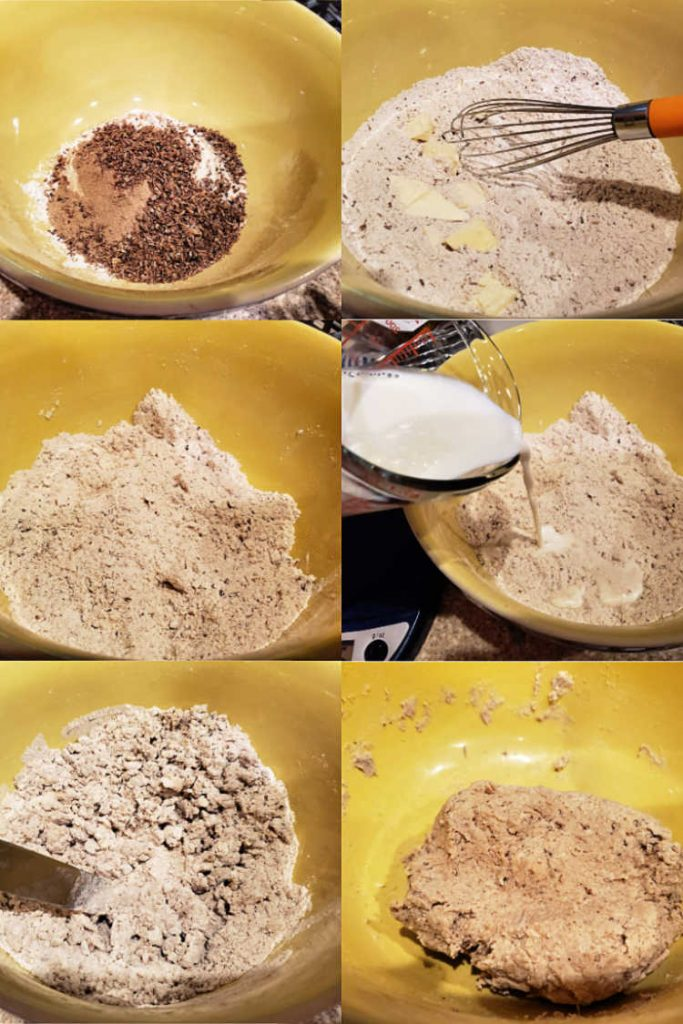 collage of 6 images showing how to make the dough for spent grain crackers