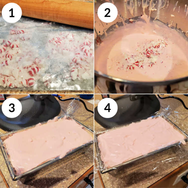 Collage of 4 images showing how to make peppermint ice cream, step by step.