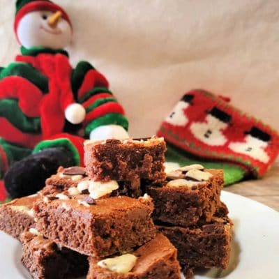 The Best Peppermint Bark Brownies | Delicious Christmas Brownies!
