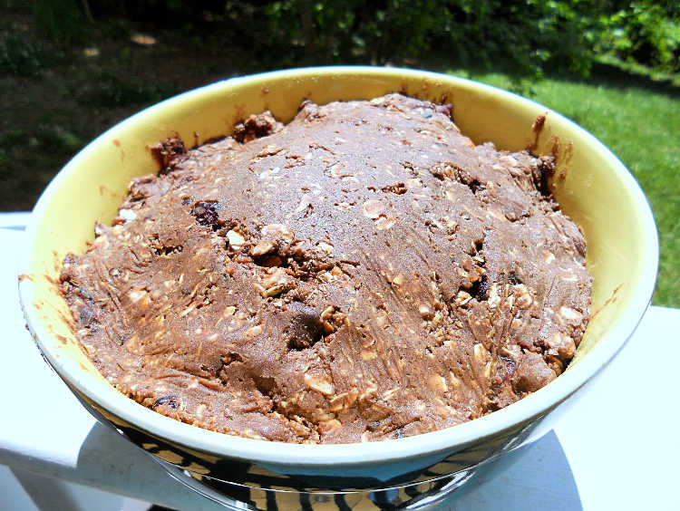 a large bowl of chocolate cookie dough with customizable mixins