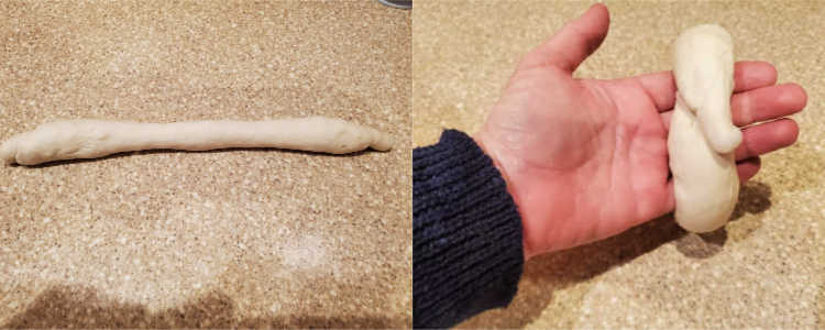Bagel dough rolled out into a long snake shape. Another picture showing wrapping the snake around your hand and overlapping the ends.