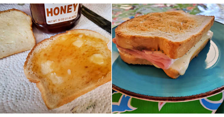 Collage of 2 pictures showing bread serving suggestions. First with softened butter and honey. Second is a ham and cheese sandwich on toasted sandwich bread.