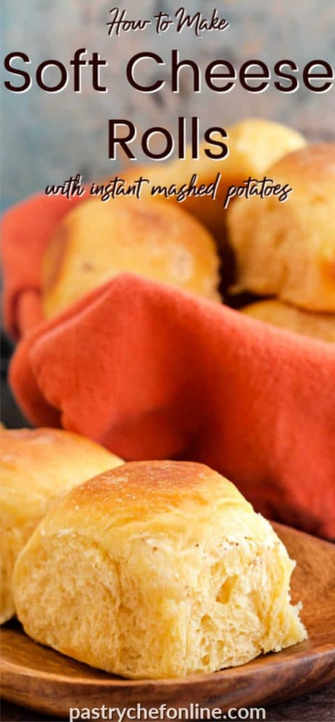 """rolls on a plate text reads """"how to make soft cheese rolls with instant potatoes"""""""