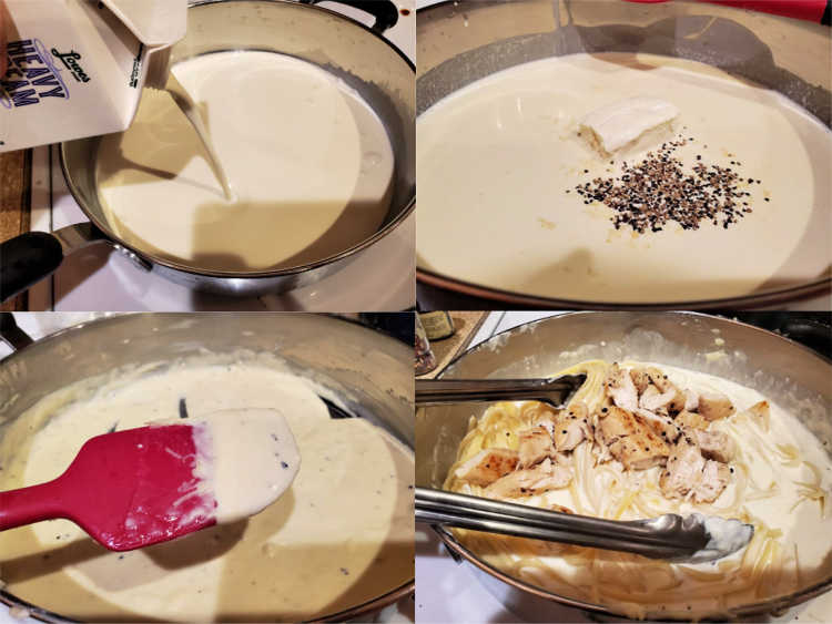Collage of four images showing pouring cream into a pan, adding cream cheese, salt, and pepper, the thickened sauce in the pan, and stirring in the cooked fettuccine and chicken.