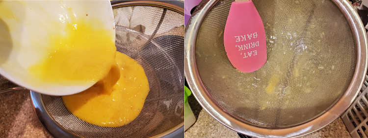 Pouring beaten eggs through a strainer and the strainer after all the egg has passed through, showing bits of white chalazae left behind.