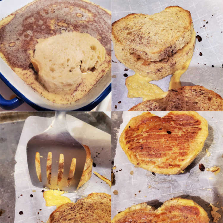 Collage of four images showing soaking the bread in custard, the baked french toast, trimming off any set batter around the bottom edges and the finished toast.