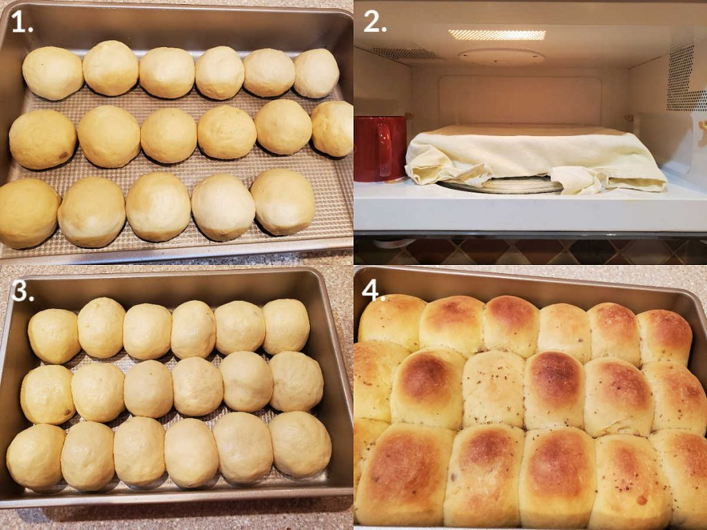 Collage of 4 images showing cheese buns rising in a pan and then baked.