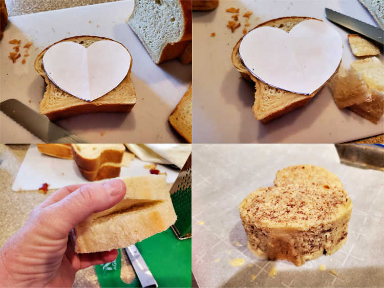 Collage of 4 images showing how to cut the bread to make heart-shaped French toast.