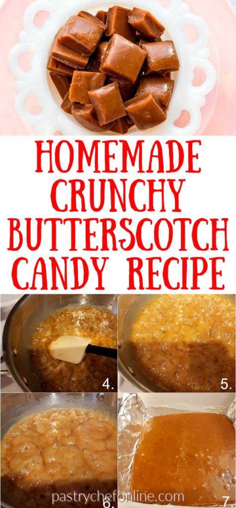 """butterscotch candy pin image text reads """"homemade crunchy butterscotch candy recipe"""""""