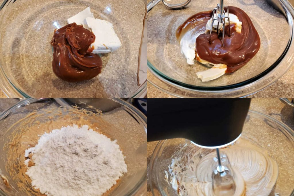 Collage of 4 images showing how to make butterscotch frosting.