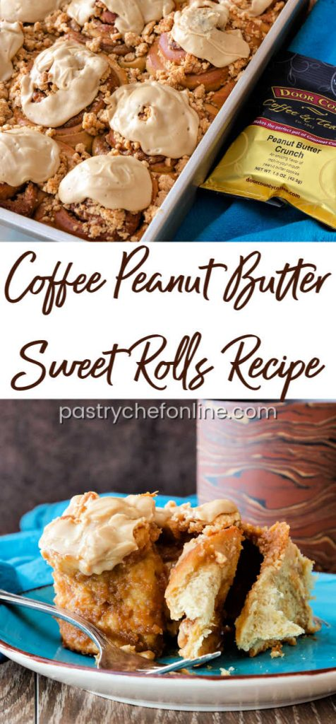 pinterest image for coffee peanut butter sweet rolls
