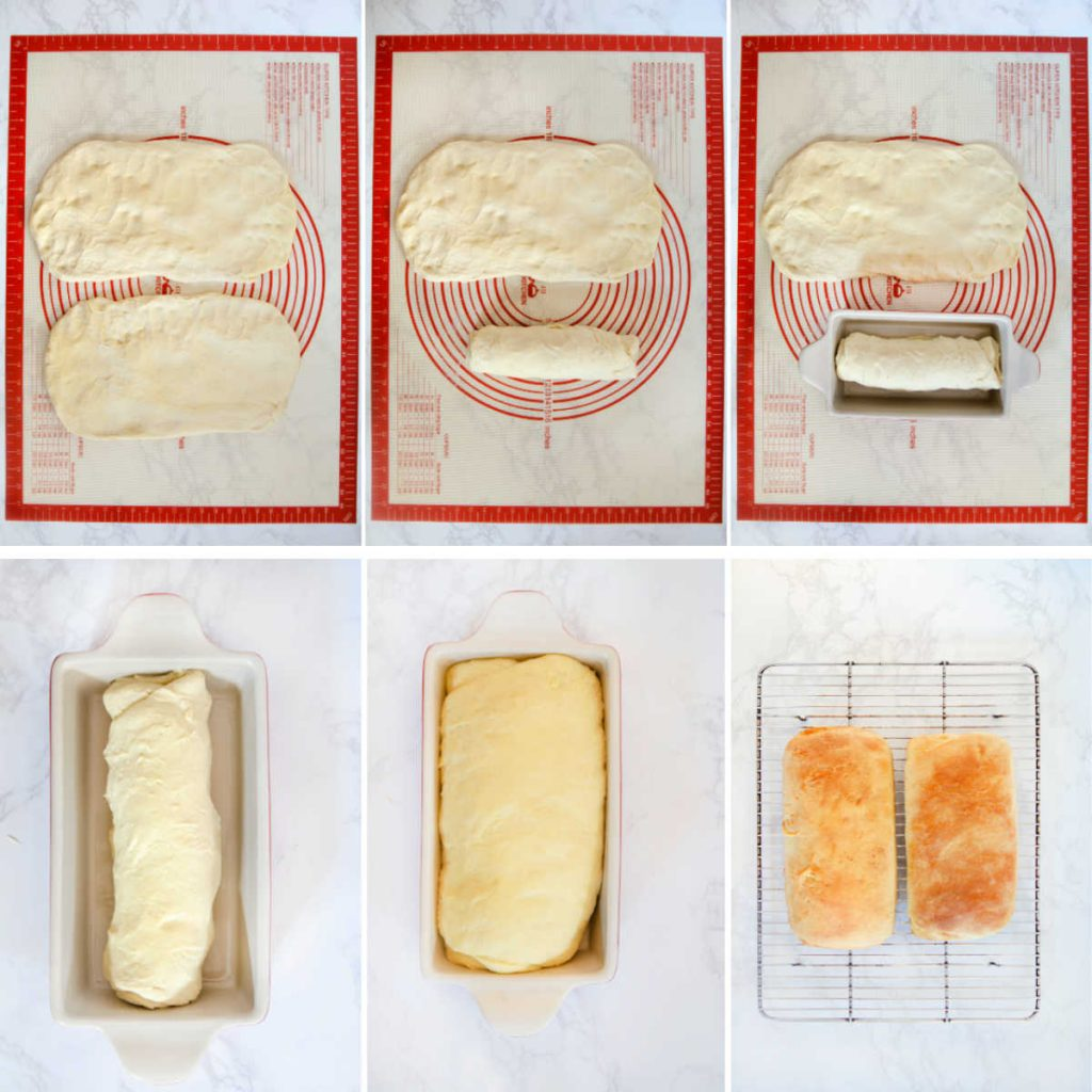 Collage of images showing how to shape a loaf of bread dough then place it in a loaf pan. One shot shows dough having risen fully in bread pan then final shot is of two baked loaves cooling on a rack.