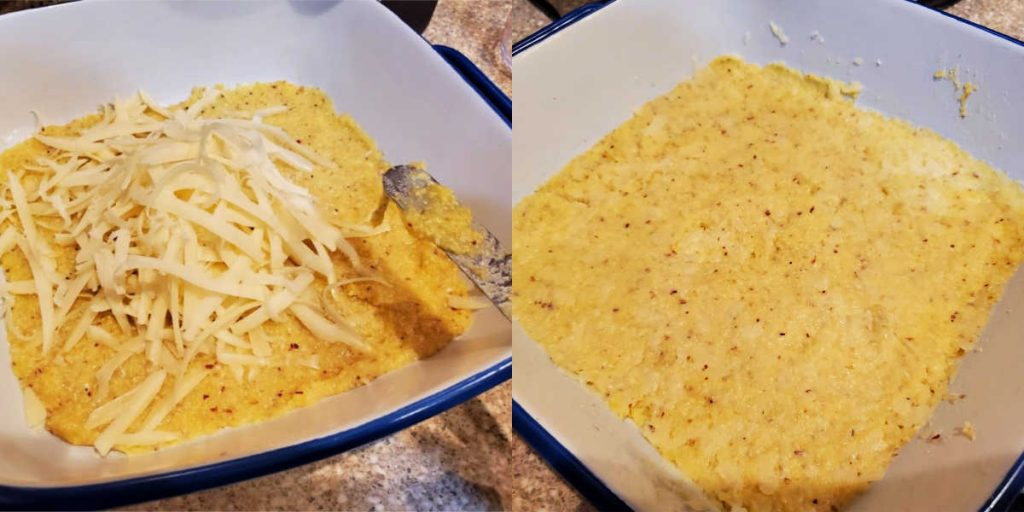 collage of two images of mixing cheese into grits