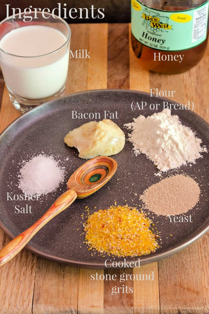 All ingredients to make grits bread.