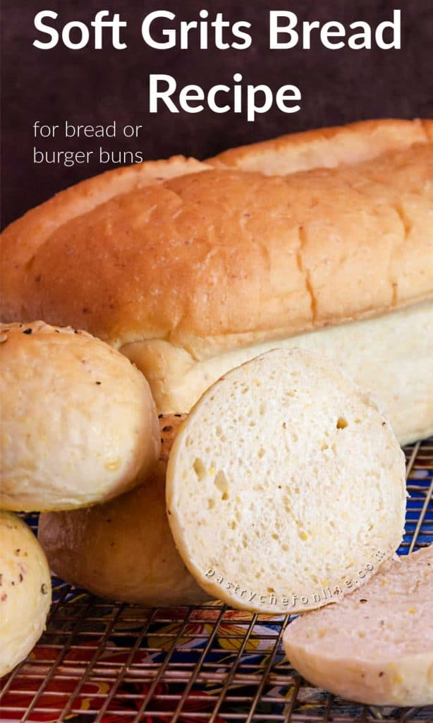 """pin image for grits bread text reads """"soft grits bread recipe"""""""